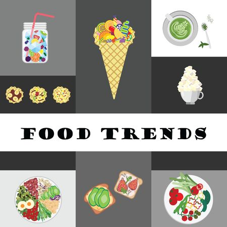 vector illustration for different modern food trends as Buddha bowl or matcha latte in collage style design
