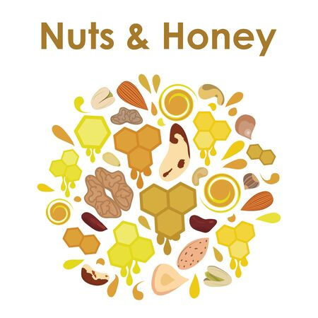 vector illustration of honey and nuts emblem with drops and honeycombs in round shape design