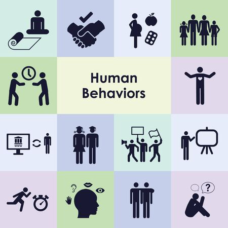 vector illustration of different human behaviors icons set Illusztráció