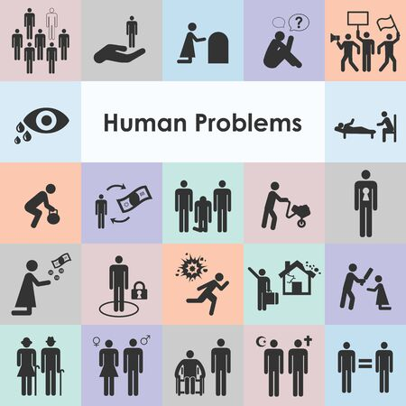 vector illustration of different human problem behaviors activities and postures icons set