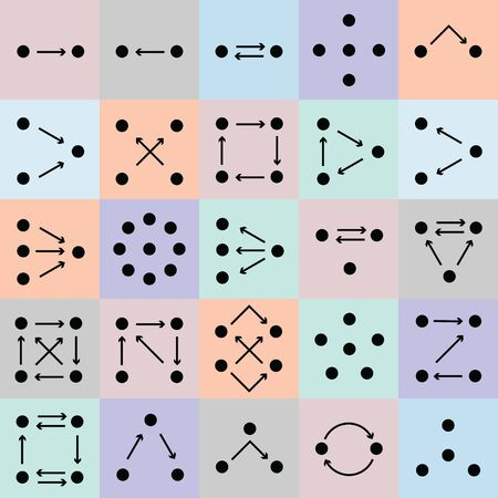 vector illustration of behavior models with dots and arrows showing relation between objects or people Ilustração