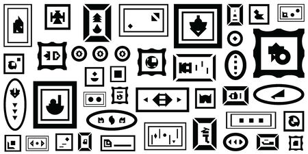 vector horizontal illustration for contemporary art concept with plenty of frames with abstract shapes Illustration