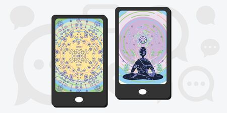 vector illustration of two mobile phones with meditative wallpapers for mindfulness application designs