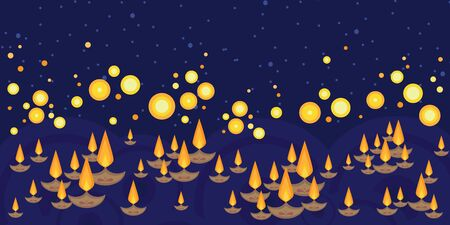 vector illustration of horizontal banner with plenty of small boats with candles in water for light festival concept