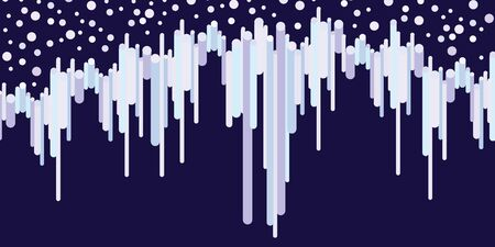 vector illustration of horizontal banner with snowflakes and frozen water streams for winter designs on dark background