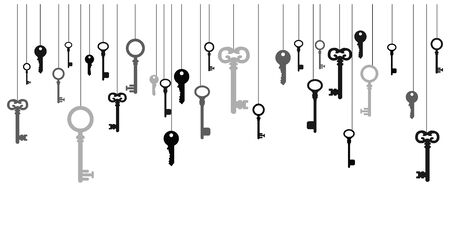 vector illustration of horizontal banner with plenty of hanging keys in black and grey colors