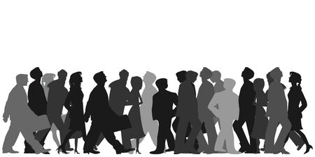 vector illustration of horizontal banner with crowd of people walking and looking around in black and grey colors