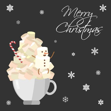 vector illustration of coffe cup full of marshmallows and snowman funny figure on it