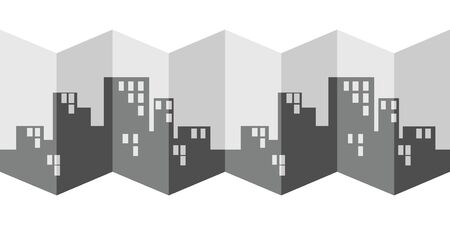 vector illustration of horizontal banner with folded city map with modern buildings in black and grey colors