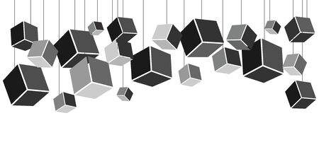 vector illustration of horizontal banner with plenty of hanging cubes for modern art installation concepts in black and grey colors