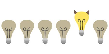 vector illustration of horizontal banner with bulbs in row with one bulb standing out of line as bad idea concept