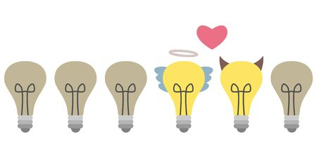 vector illustration of horizontal banner with bulbs in row with two bulbs standing out of line as bad and good ideas concept