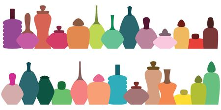 vector illustration of different bottles types for cosmetic shop concept or perfume store