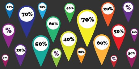 vector illustration of horizontal banner with colorful discounts markers from small to big sale offers percentage Illusztráció