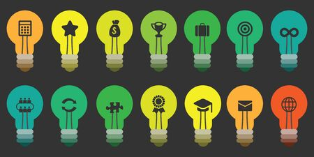 vector illustration of horizontal banner with colorful bulbs in rows with business symbols inside as good ideas for startups and management concepts