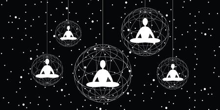 vector illustration of horizontal banner with meditating people in lotus posture inside spheric shapes on dark cosmic background Çizim