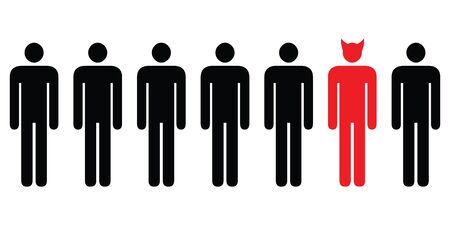 vector illustration of horizontal banner with people in row with devil man standing out of line as bad idea concept
