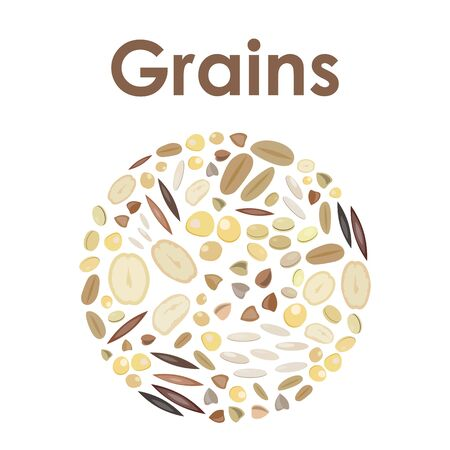 vector illustration of grains in a circle shape for round logo or eblem design in natural colors