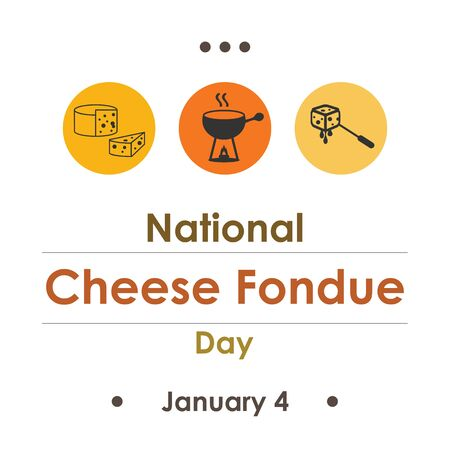 vector illustration  for cheese fondue day  in january