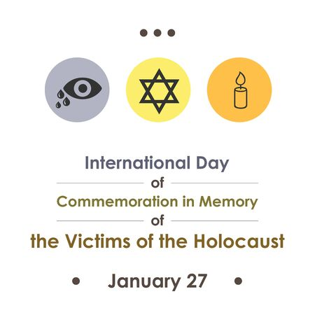 vector illustration  for holocaust memory day  in january