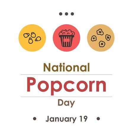 vector illustration  for popcorn day  in january Illustration