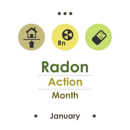 vector illustration for radon action month in january