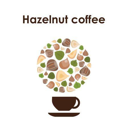 vector illustration of hazelnut flavored coffee for round logo or eblem design Ilustração