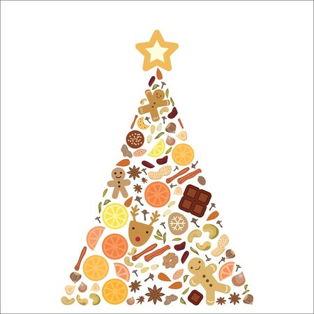 vector illustration of pine tree composed by spices and dried fruits with cookie star on the top as Christmas cooking concept