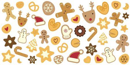 vector illustration  for Christmas horizontal banner with seasonal holiday cookies like gingerbread pine trees and snowflakes Ilustracja