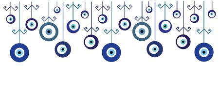 vector illustration of horizontal banner with turkish blue evil eye or nazar boncugu charms decoration and empty space for text or greeting