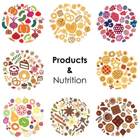 vector illustration of eight types of products fruits vegetables berries bakery spices cookies desserts and chocolate for food store designs Illustration