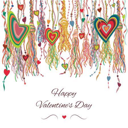 illustration vectorielle de rayures et de rubans suspendus avec des coeurs dans un style bohème rustique et des glands colorés pour la décoration de la Saint-Valentin et les cartes de voeux