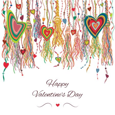 vector illustration of hanging stripes and ribbons with hearts in rustic bohemian style and colorful tassels for Valentines Day decoration and greeting cards