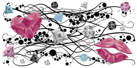 vector illustration of crystals and gems hearts and lips for Valentines Day decoration and greeting cards