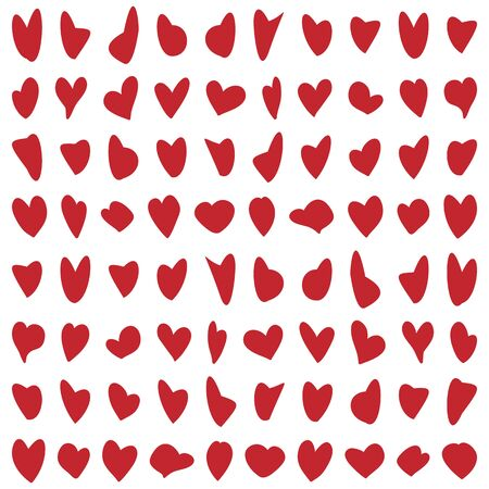 vector illustration of abstract background with red hearts in rows and columns creating trendy pattern Ilustrace