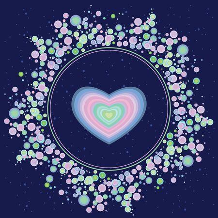 illustration vectorielle de coeur bleu comme élément spirituel pour les concepts d'amour cosmique en forme de cercle pour la conception de la Saint-Valentin Vecteurs