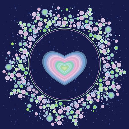vector illustration of blue heart as spiritual element for cosmic love concepts in circle shape for Valentines Day design Illustration
