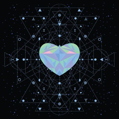 vector illustration of blue crystal heart as spiritual element for cosmic love concepts with sacred geometry elements for Valentines Day design