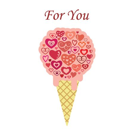 vector illustration for  Valentines Day greeting card with pink lovely ice cream and hearts and text For You Ilustrace