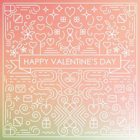 vector illustration of  Valentines Day greeting card with single weight line art swirls and decorative elements with blurry pink background and text in the middle