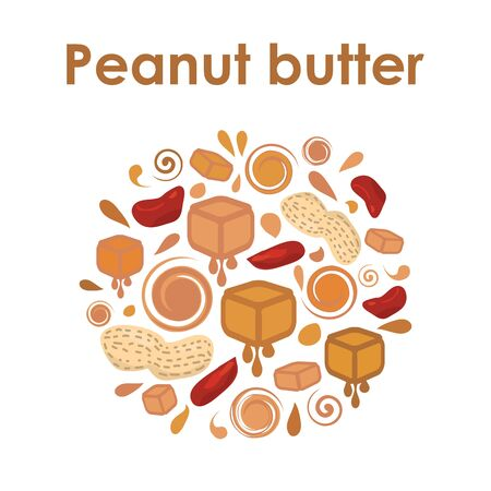 vector illustration for peanut butter emblem in circle design