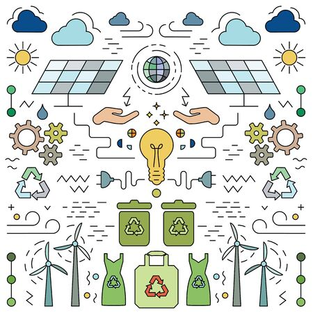 vector illustration of   symmetric flat art style poster for alternative ecological electricity sources Ilustrace