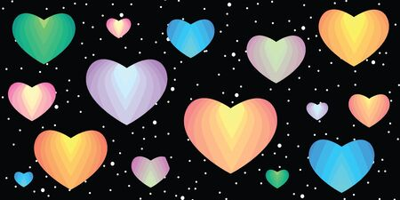 vector illustration of colorful rainbow spectrum hearts for cosmic love concepts on dark sky background  for Valentines Day design