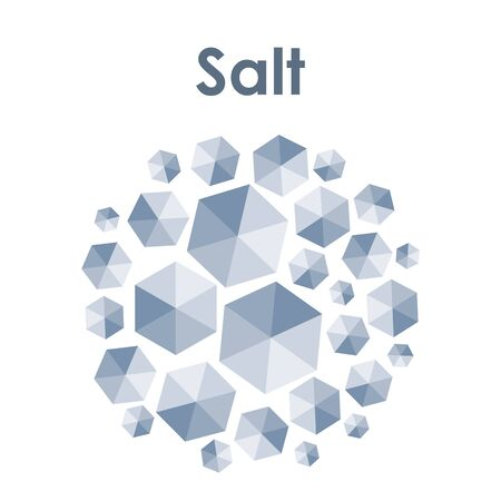vector illustration of crystals of salt in circle shape design