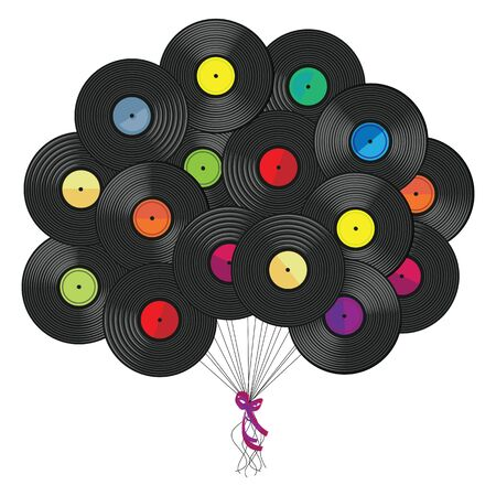 vector illustration of vinyl records plates stylized as balloons in air for retro music poster or vintage album cover concept design