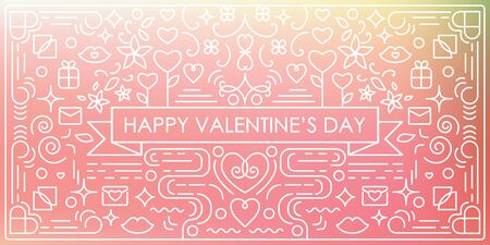 vector illustration of  Valentines Day horizontal banner with single weight line art swirls and decorative elements with blurry pink background and text in the middle