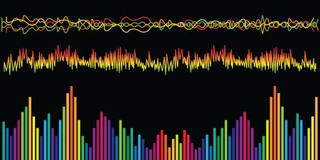 vector illustration of horizontal banner with colorful sound waves and charts for audio media concepts and designs on black background