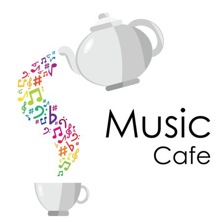 vector illustration of poster with colorful music notes and tea pot and cup for music cafe designs Ilustrace
