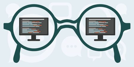 vector illustration of horizontal banner with glasses and screen with code reflection for coding and programming concepts and web design