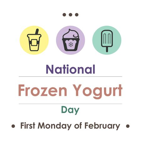 vector illustration for frozen yogurt day in February